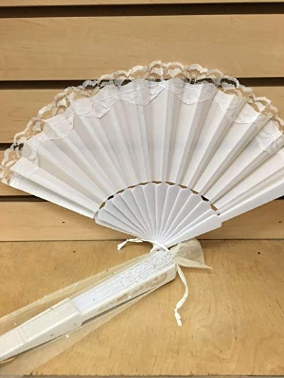 Amazon 12 Sparkle Ivory Organza Bag For Hand Fan Wedding Party