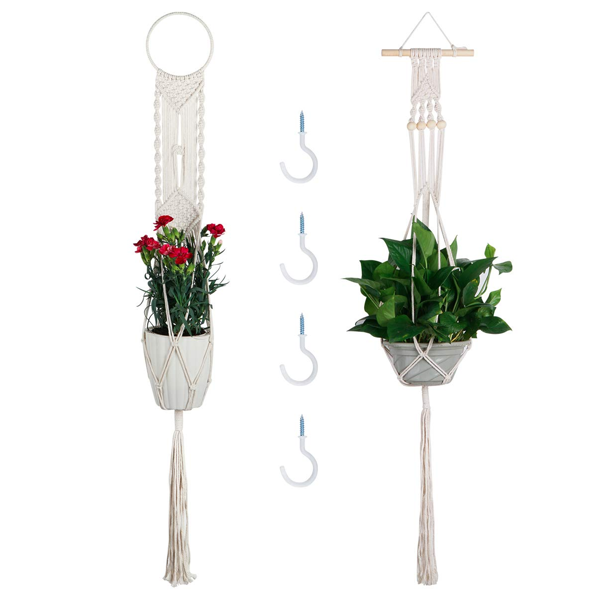 Macrame Plant Hangers, Vaincre 2 Set Hanging Planter with 4 Hooks, 43.3 Inch Wall Art Boho Home Decor 2, Cream White