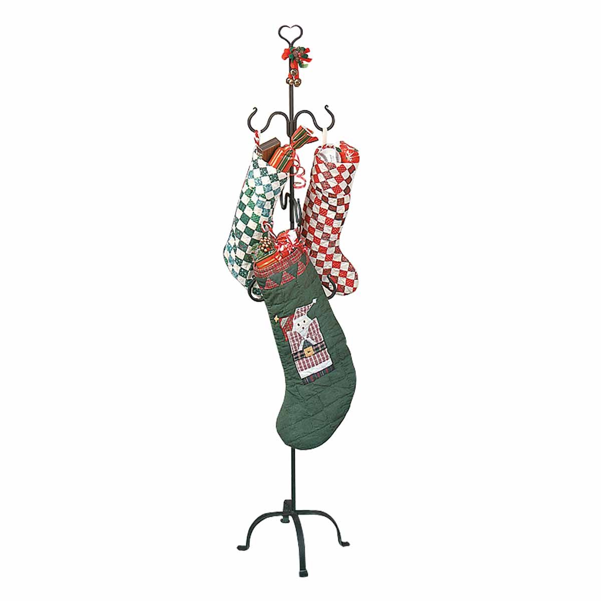Christmas Stocking Holder Free Standing Wrought Iron 6 Hanger Hooks with Heart Tip Top Rust Resistant Easy Assembly by Renovator's Supply (Image #1)