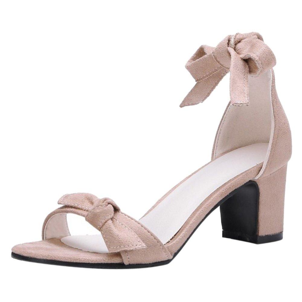 TAOFFEN Damen Schnurung Sandalen Sommer Schuhe Absatz  37 EU|Apricot