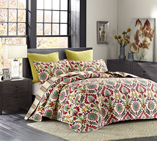 (Cali Pink Reversible Quilt Set, Boho Chic Floral Damask Pattern, 3-Piece Set with Quilt and Pillow Shams - Full/Queen, Cali)