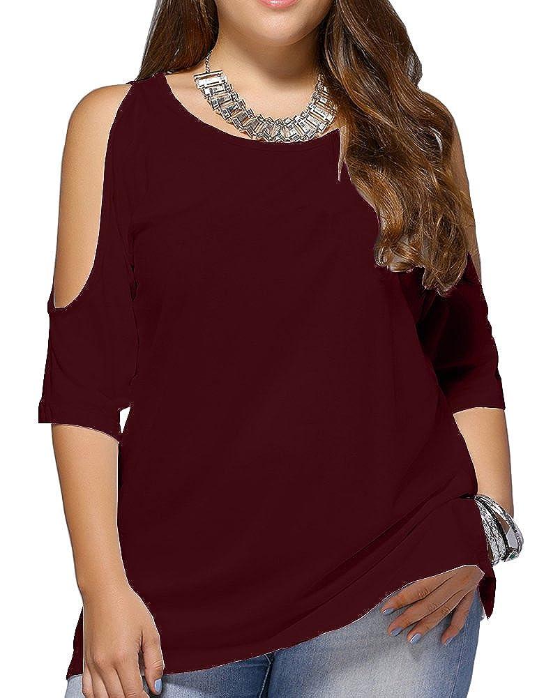 Allegrace Women Plus Size Cold Shoulder T Shirt Short Sleeve Fashion Top Blouse AG284
