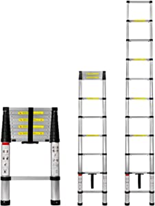 Work-It! Extension Ladder 10.5 Ft - Aluminum Collapsible Telescoping Ladder with Soft Close Spring Function, EN131 Certified 330 Lbs Capacity