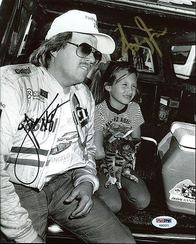 John Force & Ashley Force NHRA Drag Racing Authentic 8 x 10 Photograph - PSA/DNA Authenticated