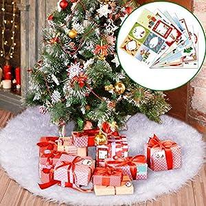 Joyjoz Gonna Albero di Natale, Tappeto per albero di Natale Bianco con 48 Adesivi Regalo di Natale, Tappeto Peloso Bianco per Decorazioni Natalizie Ornamenti Natalizi 5 spesavip