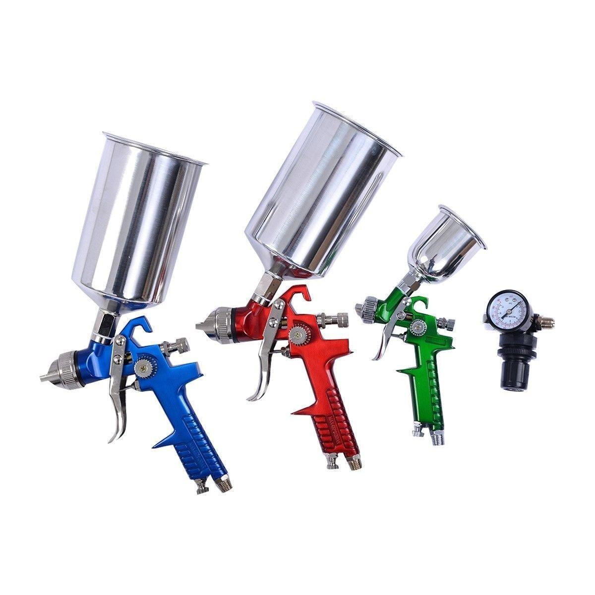 3 Pcs HVLP Air Spray Gun Kit Gravity Feed Automotive Paint Car Primer Detail Basecoat Set