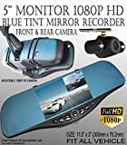 ICBEAMER 300mm Blue Tint Mirror + 1080P 5'' Monitor Front Back Car Camera Interior Rear view Mirco SD Easy Clip on