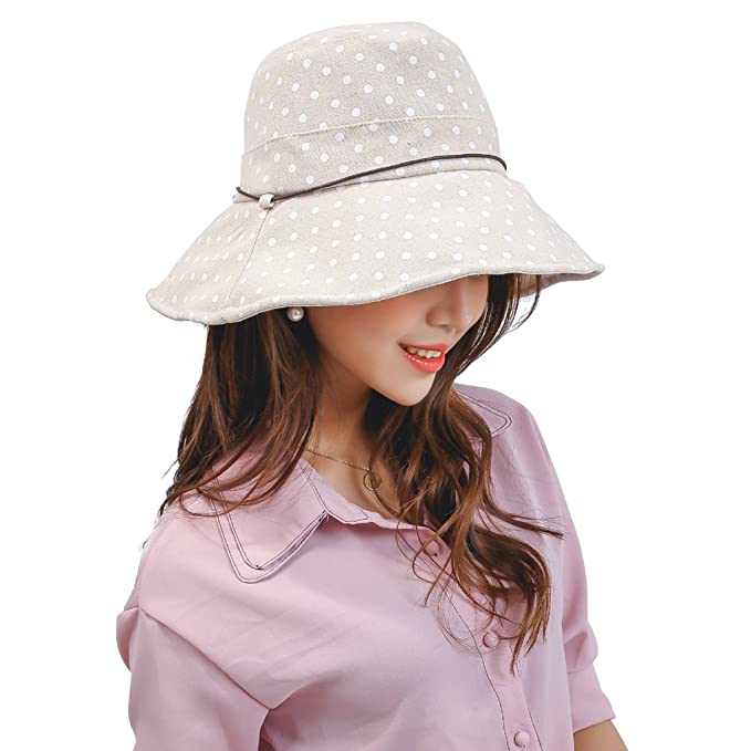 771f4ba61 Women Sun Hat Ladies Large Summer Spot Bucket Cap Youth Girl Beach ...