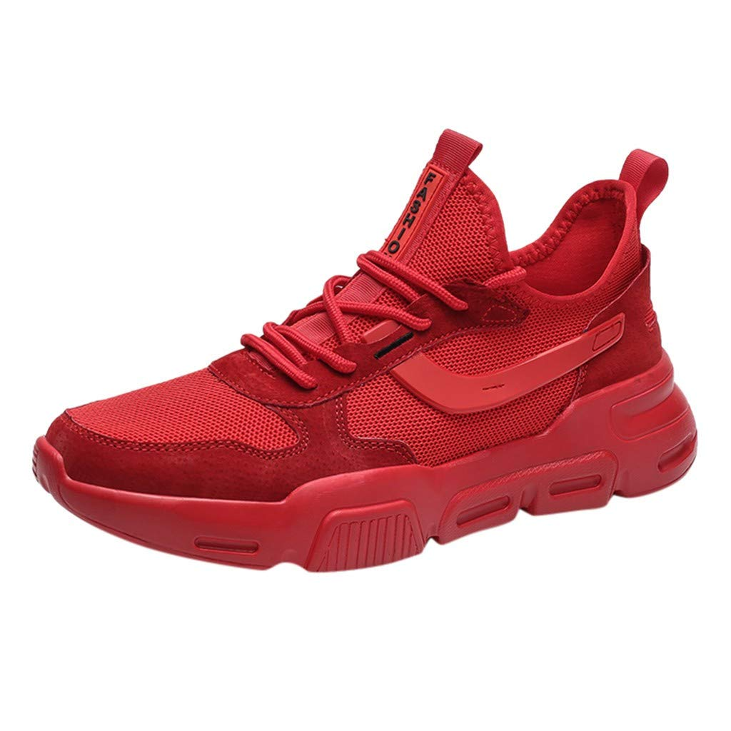 Men Mesh Breathable Sneakers Non Slip Running Shoes Athletic Sport Shoes Comfortable Lace Up Walking Shoe By Lmtime(Red,39)