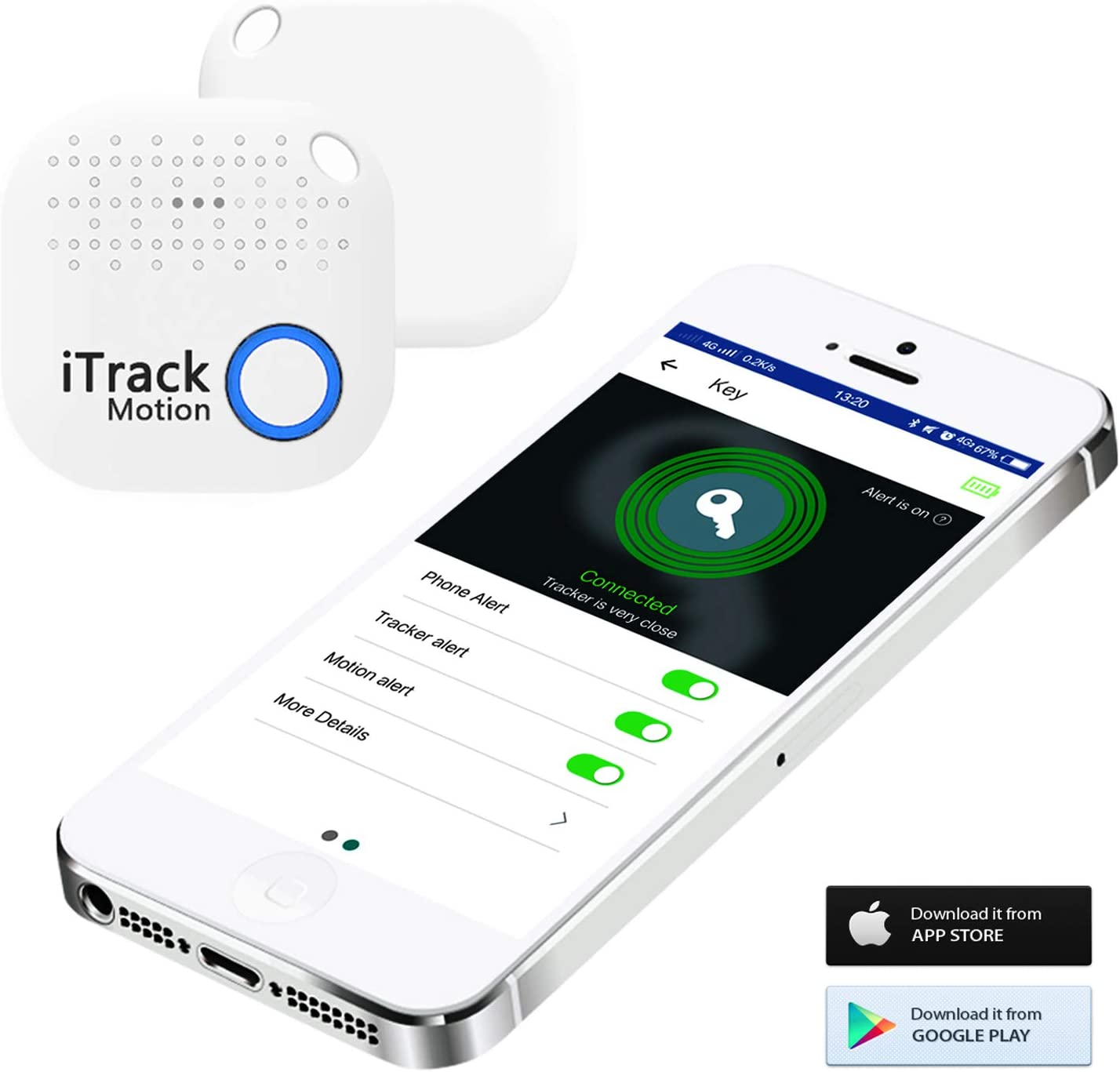 iTrack Détecteur de Mouvement, Bluetooth sans Fil, localisateur de téléphone Intelligent Anti-Perte pour téléphone, Enfants, Porte-clés, Portefeuille, Sacs, Porte-Monnaie, Bagage