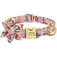 Flower Custom Dog Collar Printed Pet Nylon Dogs Collar Personalised Puppy Collars for Small Medium Large Dog