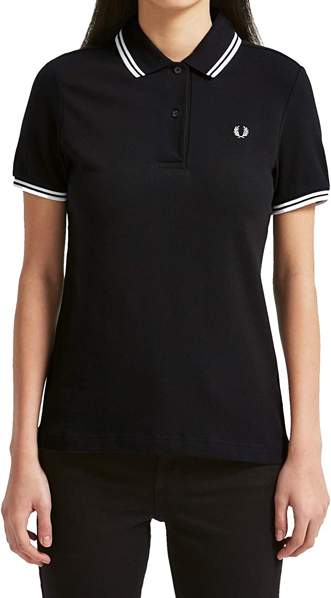 Fred Perry - Polo ajustado mujer Fred Perry negro Twin Tipped Fred ...