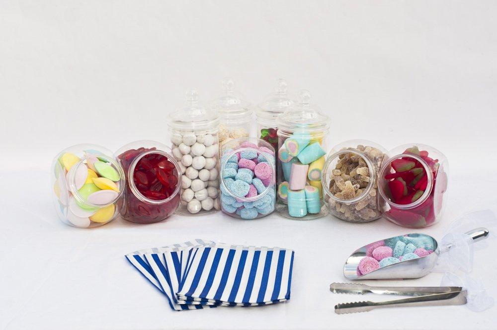 varios colores 10 jarras de pl/ástico, 5 pinzas, 100 bolsas a rayas para caramelos de 12,7 x 17,78 cm Wedding Sweet Table Kit para buf/é de fiestas