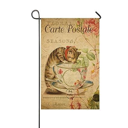 Decoration Carte Postale.Amazon Com Afagahahs Carte Postale Orange Cat Drink Tea