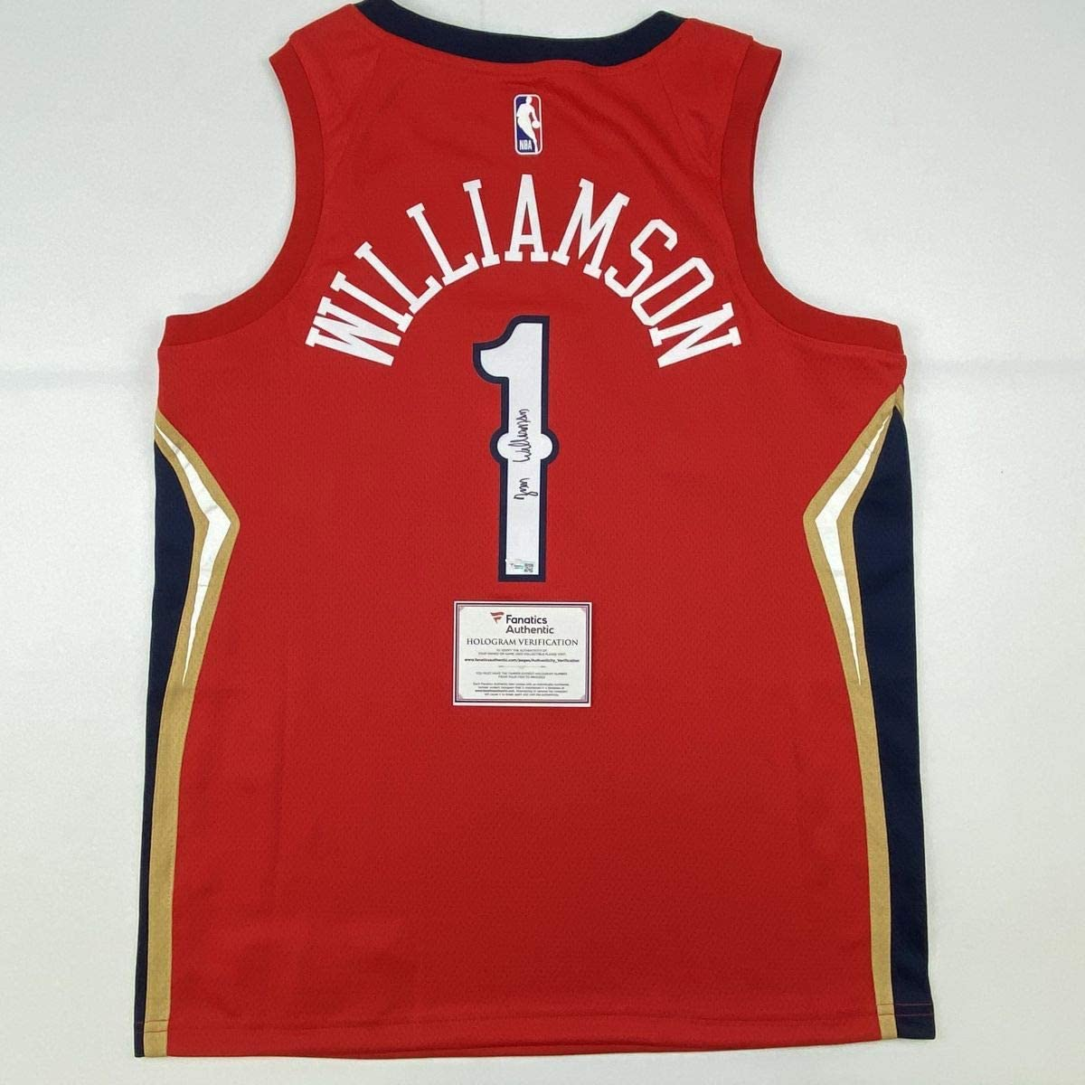 Autographed/Signed Zion Williamson New Orleans Pelicans Red Swingman Jordan Basketball Jersey Fanatics COA