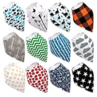 Baby Bandana Drool Bibs By Daulia, Unisex 12-Pack Absorbent Organic Cotton, C...