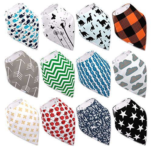 Baby Bandana Drool Bibs By Daulia, Unisex 12-Pack Absorbent Organic Cotton, Cute Baby Gift for Boys & (Can Can Outfit Fancy Dress)