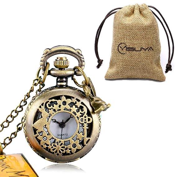 Alicia en el país de Las Maravillas, Reloj de Bolsillo para niñas y niños, Reloj de Bolsillo Vintage de Cuarzo para Hombres y Mujeres, ...