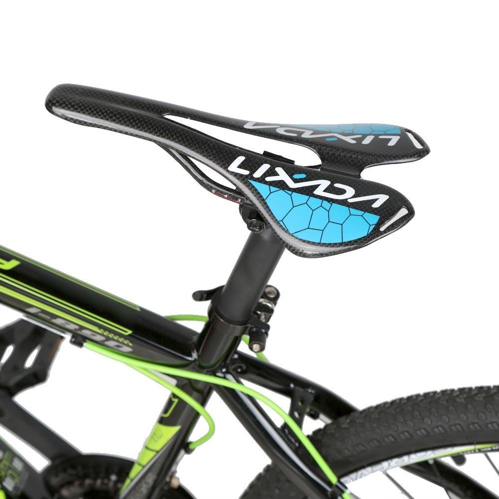Fibra de carbono MTB full Lixada Mountain Bike bicicleta asiento de 275 * 143 mm 120 G azul: Amazon.es: Deportes y aire libre