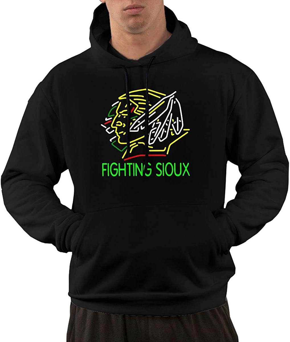 Wanjirong Men Fleece Pullover Hoodie Print Fighting Sioux Sportswear
