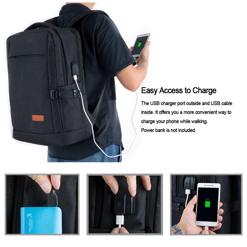 Laptop Backpack, Water Resistant College Students School Bag Travel Computer Backpack for Men Women with USB Charging Port and Headphone Port, Fits Business Laptops Notebooks up to 15.6 Inches by Yomuder (Image #3)