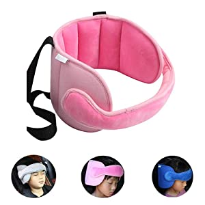 StoHua Toddler Car Seat Head Support Neck Pillow Strap - Kids and Baby Safety Neck Relief Head Support Band Sleep Strap with Adjustable Belt(Pink)