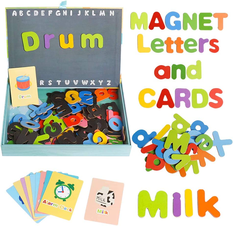 USATDD Magnetic Letters Alphabet Fridge Magnets with Magnetic Board Colorful ABC Educational Toy with Flash Cards Preschool Learning Spelling Montessori Toys for Boys Girls Age 3+