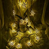 Hann Solar LED Star String Lights 12ft 20LED Decoration Light for Garden, Yard, Home, Landscape Festival Halloween Christmas Party Wedding Tree (20 LEDs Stars Warm White)