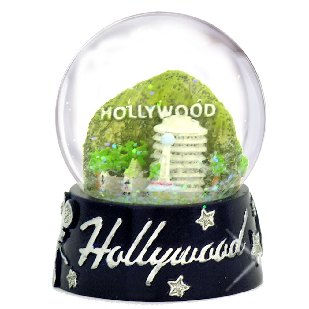 Hollywood Snow Globe, Skyline with Landmarks 65mm Snow Globes of California by City-Souvenirs