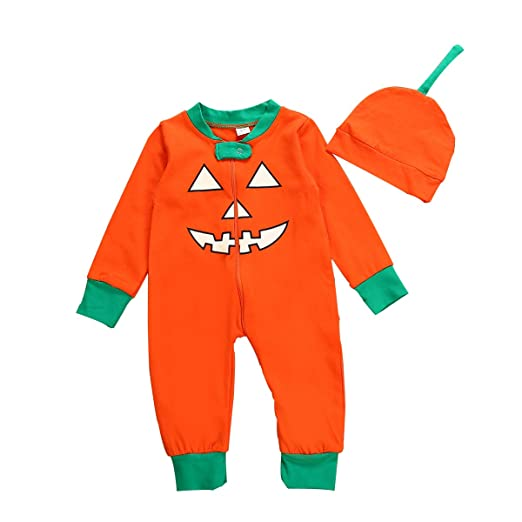 c2872ed609eb9 Newborn Baby Girl Boy Halloween Outfits Cartoon Pumpkin Smile Face Romper  Top + Pants with Hat Clothes Set