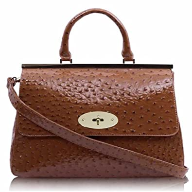 44eb5a67662c Hot Sale Women s Designer Bags Ladies Handbags Satchel Faux Leather  Shoulder Bag (Brown Classic Ostrich Suffolk Candy)  Amazon.co.uk  Shoes    Bags