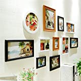 ALUS- A Set of 11 Pieces Solid Wood Combination Photo Frame Wall European Living Room Bedroom Corridor Decoration Wall Stickers Modern Minimalist Fashion Creative (Color : Black+White+Walnut Color)