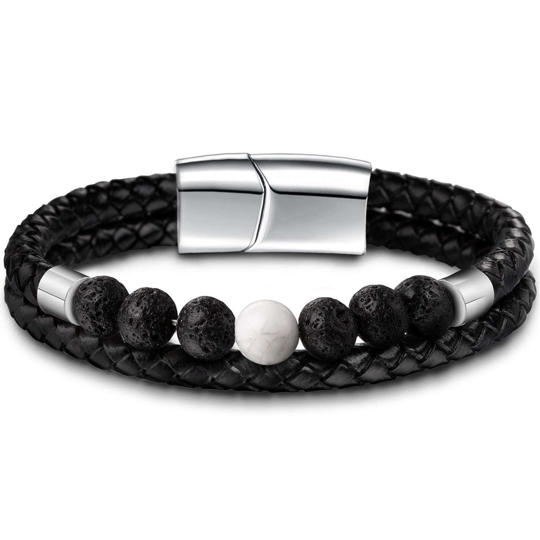 UMODE Chakra Bracelet 7 Chakras Yoga Natural Healing Genuine Leather Bead Bracelet Tiger Eye/Howlite/ Lava Stone Bracelet Men Women Magnetic Clasp yiwu xilin trading company ltd. UB0128C