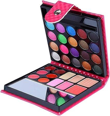 Frcolor 32 paleta de sombra de ojos de tono de tierra principiante de color mate nacarado de larga duración sombra de ojos en polvo paleta conjunto de maquillaje (caja rosa): Amazon.es: Belleza