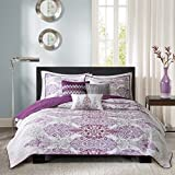 Madison Park Sonali Full/Queen Size Quilt Bedding Set - Purple, Floral Damask – 6 Piece Bedding Quilt Coverlets – Ultra Soft Microfiber Bed Quilts Quilted Coverlet