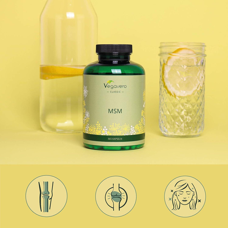 MSM 99% Puro Vegavero® | 365 Cápsulas | La Dosis Más Alta: Ahora 2000 mg | Sin Aditivos | Testado en Laboratorio | Antiinflamatorio Natural + Dolor ...