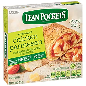 Lean Pockets, Chicken Parmesan, 2 sandwiches, 9 oz (Frozen)