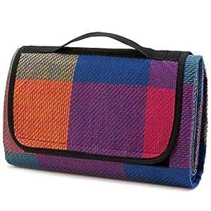 Plegable multicolor alfombra de picnic con mango