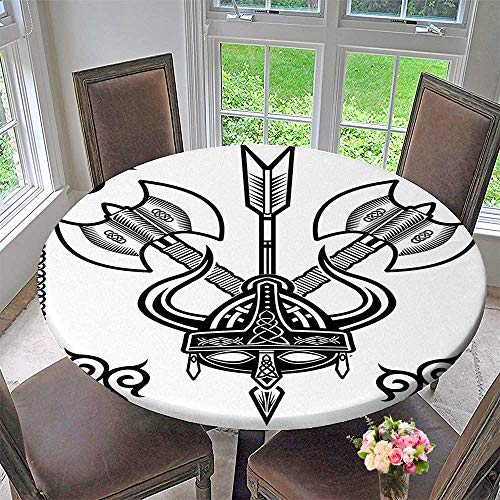 Table Cloth Viking Helmet with Horn Arrow Axe War Style Battle Culture Art Prints Black White for Daily use, Wedding, Restaurant 55