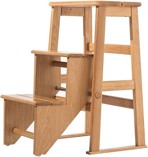 LAXF-stool Taburete de Escalera de Madera, Soporte para Cama/Planta, para el hogar, de Madera Maciza, para escaleras, sillas de Doble Uso, Escalera de Tres Pasos: Amazon.es: Juguetes y juegos