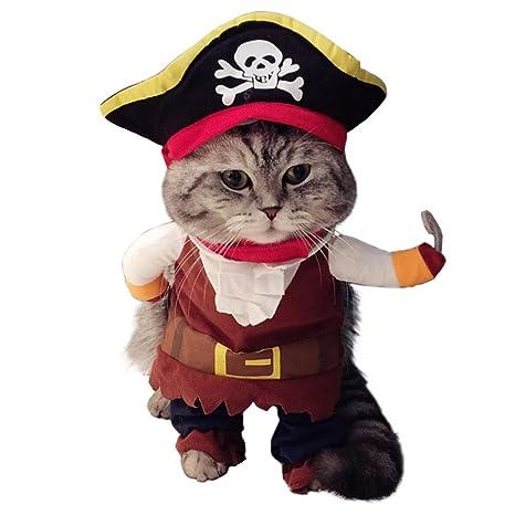 ZEEUPAI - Ropa vestido capitán pirata para gato perro mascotas Perro corgi, teddy,Bulldog