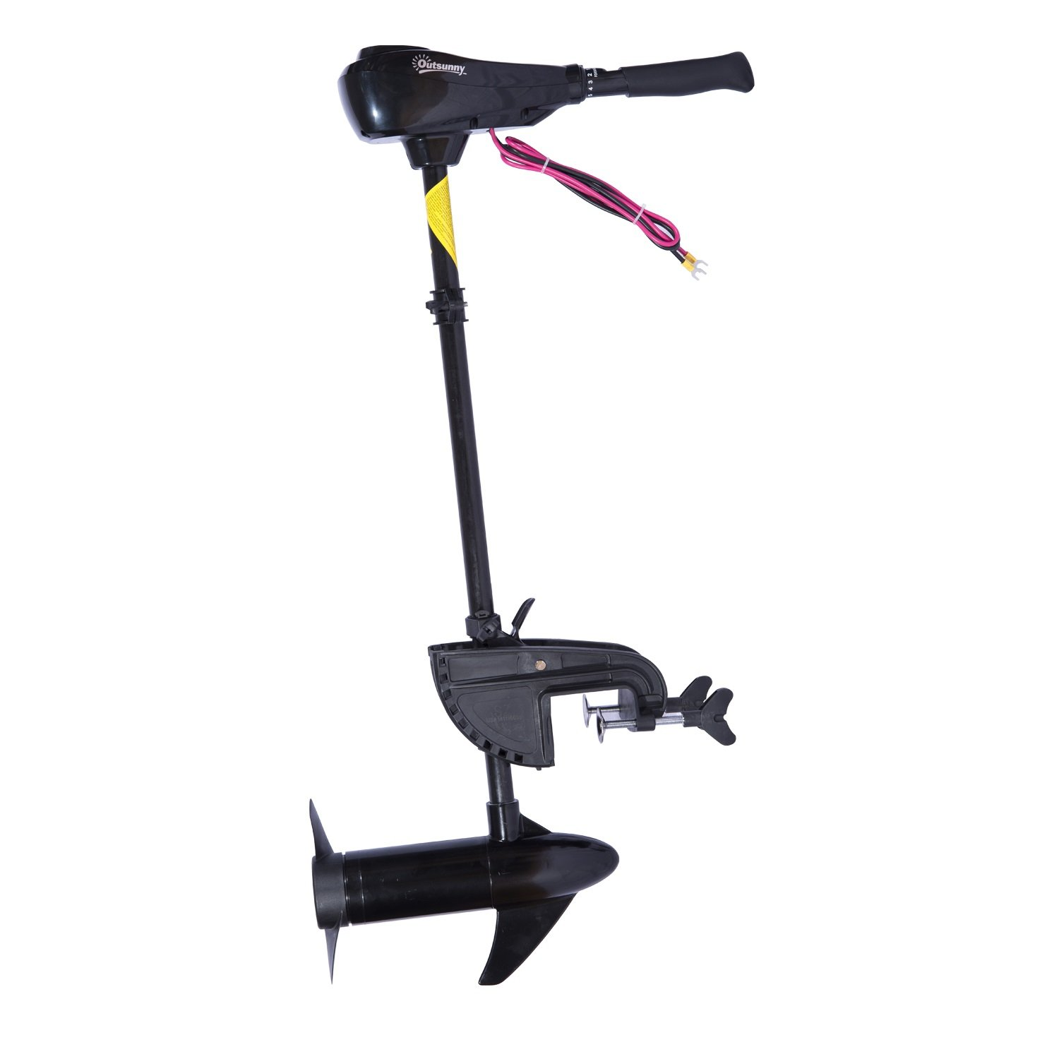Outsunny 12V Transom Mounted Thrust Electric Fishing Boat Trolling Motor, 55 lb by Outsunny