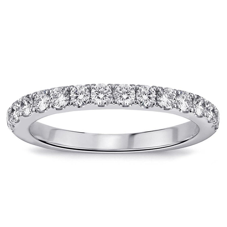 0.55 CT TW Pave Set Diamond Anniversary Wedding Ring in 14k White Gold