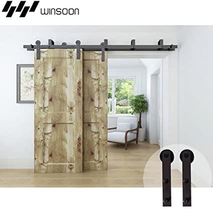 Amazon Com Winsoon 8 Ft Bypass Sliding Barn Wood Door Hardware