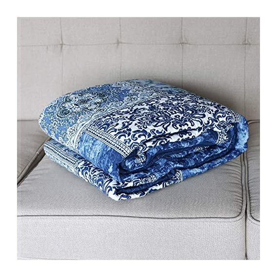 NEWLAKE Quilted Throw Blanket for Bed Couch Sofa, Blue Classic Bohemian, 60X78 Inch - Unique Design: Blue Classic Bohemian Patchwork Package Content: 1 piece of decorative throw blanket (60 *78 Inch) Care Instruction: machine wash separately in cold water, tumble dry low heat - blankets-throws, bedroom-sheets-comforters, bedroom - 61vuX7HP0nL. SS570  -
