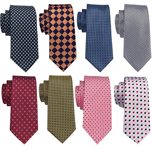 Tie Set Men Silk Check Dot Deisgner Necktie Woven Business Formal Wedding Party Stylish