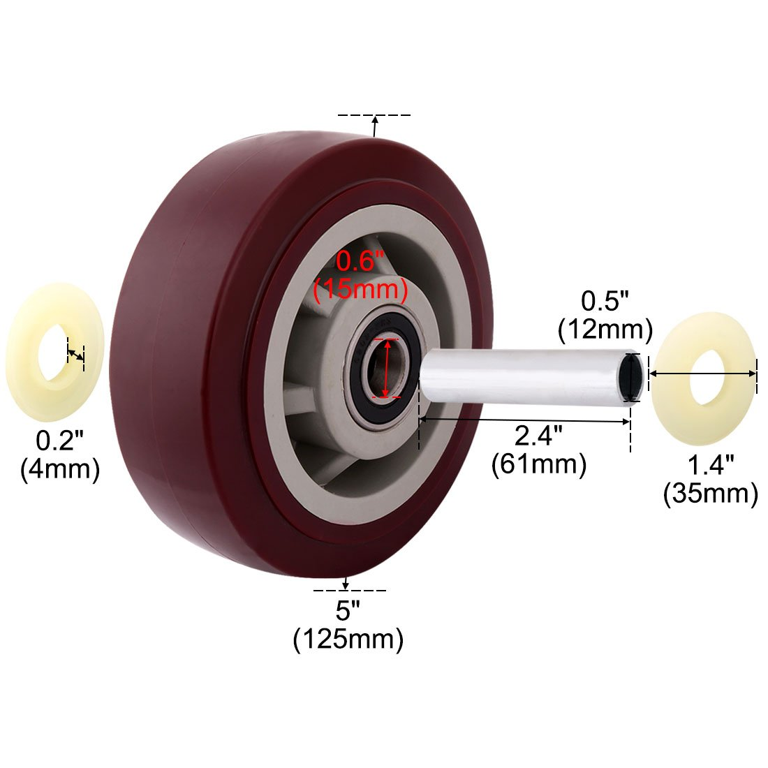 uxcell 5'' Polyurethane on Hard plastic Wheel, Replacement For Carts, Furniture, Dolly, Workbench, Trolley, Wheel Only, Red Set of 2 by uxcell (Image #1)