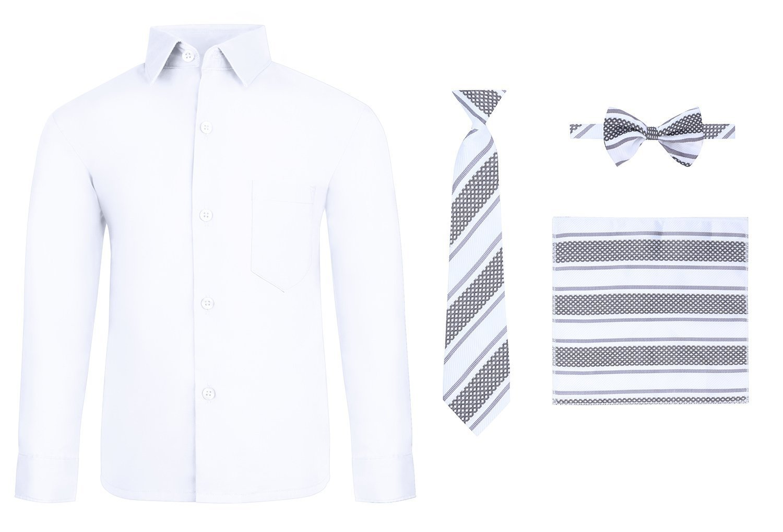 S.H. Churchill & Co. Toddler Boy's Dress Shirt & Tie - White, 4T