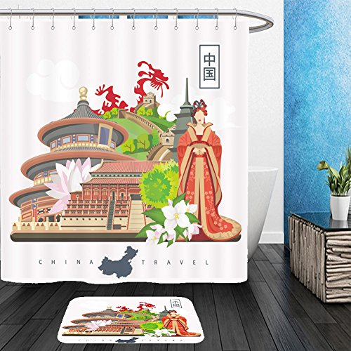 Vanfan Bathroom 2?Suits 1 Shower Curtains & ?1 Floor Mats china travel vector illustration chinese set with architecture food costumes traditional 461294965 From Bath room - Posh And Beckham Costume