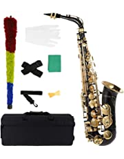 ammoon bE Alto Saxophone Brass Lacquered Gold E Flat Sax 82Z Key Type Woodwind Instrument with Cleaning Brush Cloth Gloves Cork Grease Strap Padded Case
